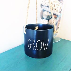 "Rae Dunn ""GROW"" hanging planter black NEW"